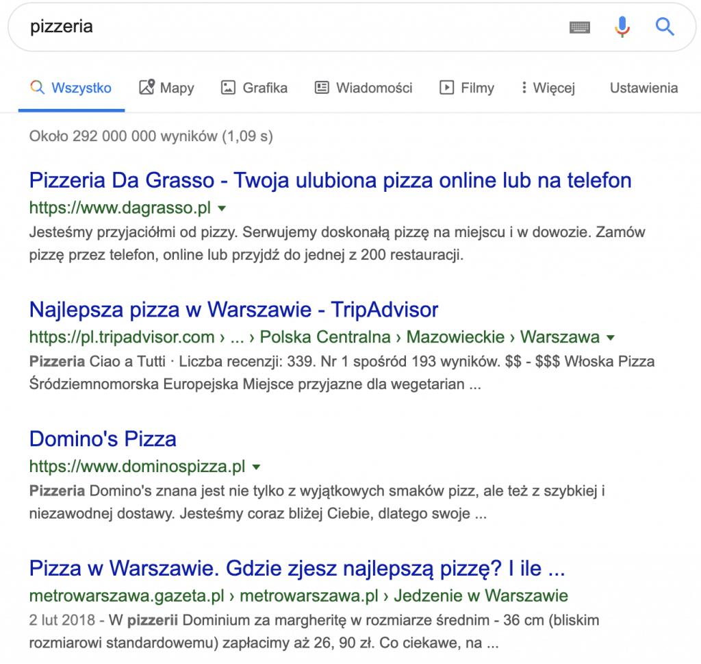 Wyniki wyszukiwania w Warszawie dla frazy pizzeria
