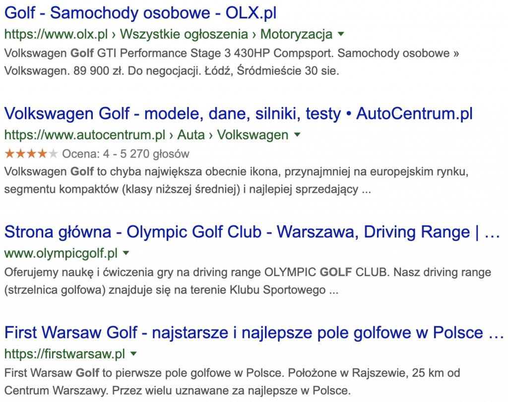 """Fragment wyników wyszukiwania dla frazy """"golf"""""""